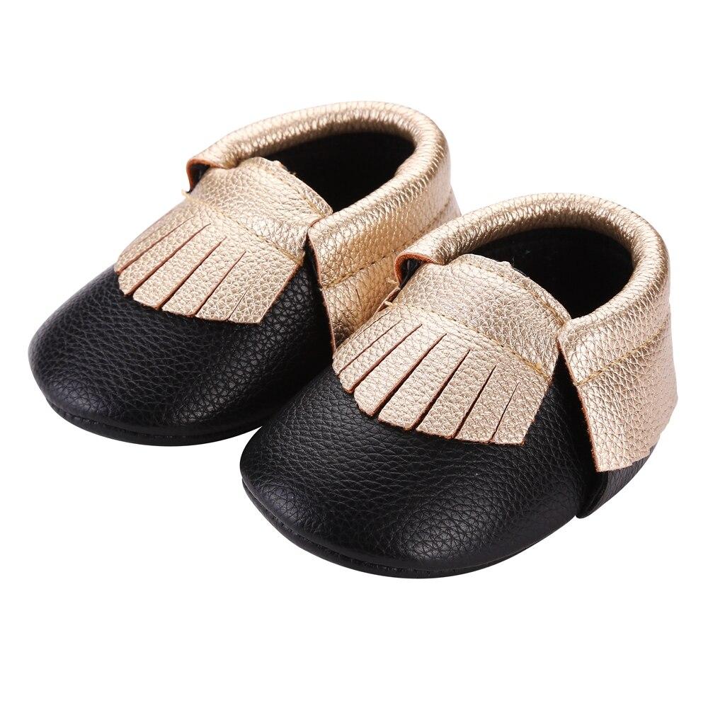 Black newborn sandals - Black Color Fringed Newborn Baby Boy Shoes Pu Leather First Walkers Toddler Soft Bottom Flat