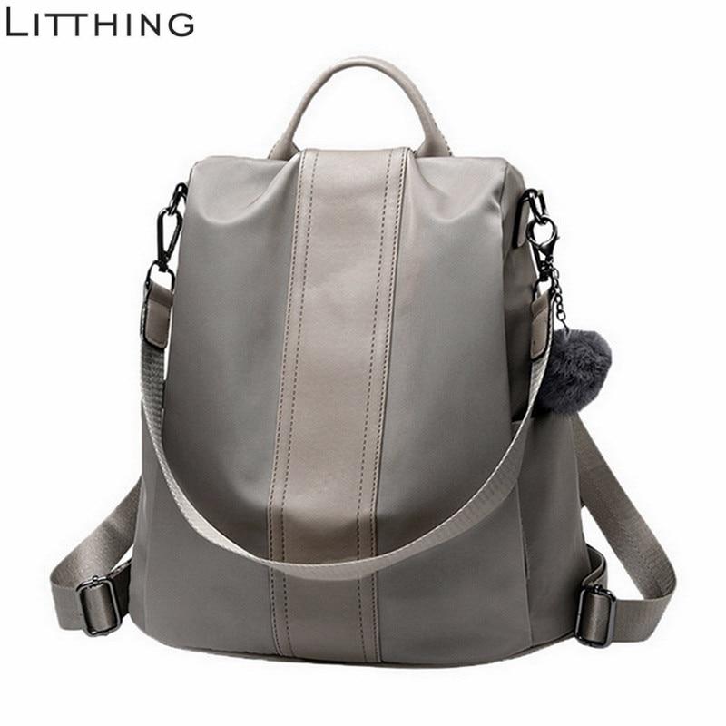 Litthing Solid Women Backpack Anti Theft School Bags Teenage Girls Teen Backpack Book Backbag Travel Daypacks High Quality #New