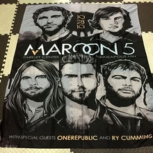 Maroon 5 Rock Band Pendurado Arte Pano Impermeável Tecido de Poliéster 56X36 polegadas Flags bandeira Bar Cafe Hotel Decor(China)