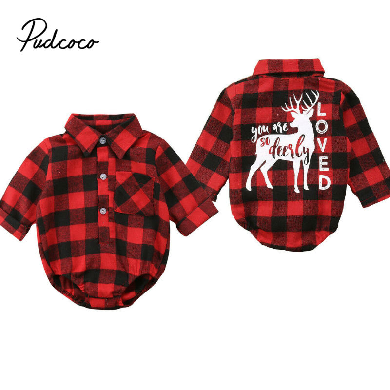pudcoco 2019 Newborn Baby Girl Plaid Red Color Long Sleeve   Romper   Jumpsuit Outfit Sunsuit 70-100 size Autumn Winter