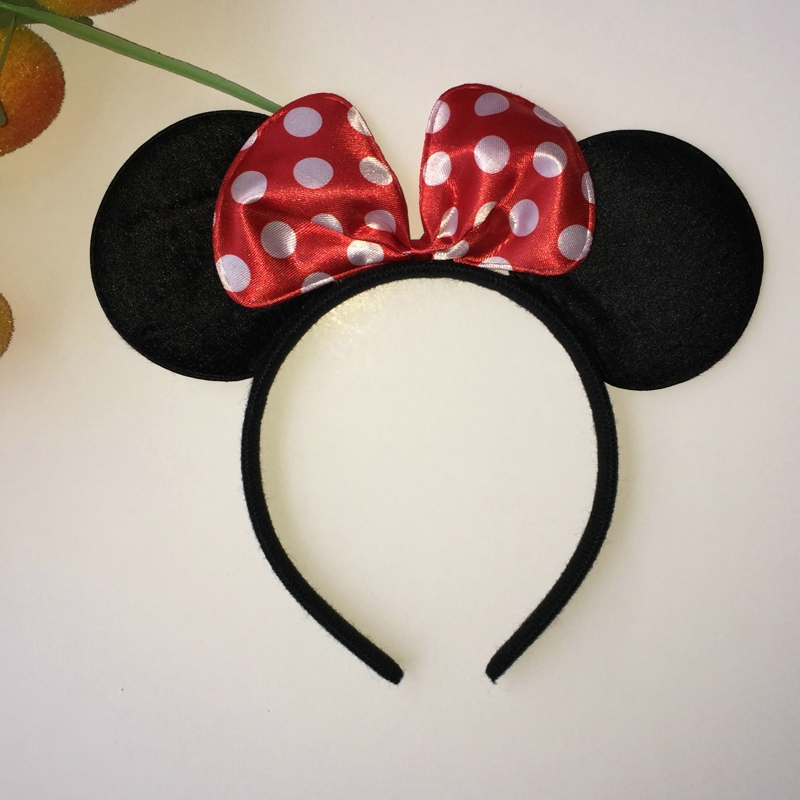 Lovely Cartoon Dot Bow Cloth Headband Cute Women Girls Boys Kids Fantastic Black Mouse E ...
