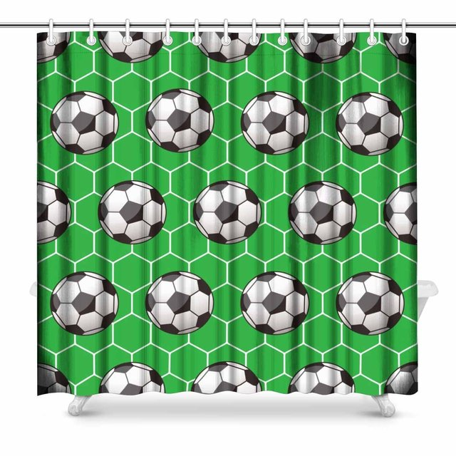 Aplysia Soccer Prints Shower Curtain For Bathroom Decorations Sets 72 X Inches