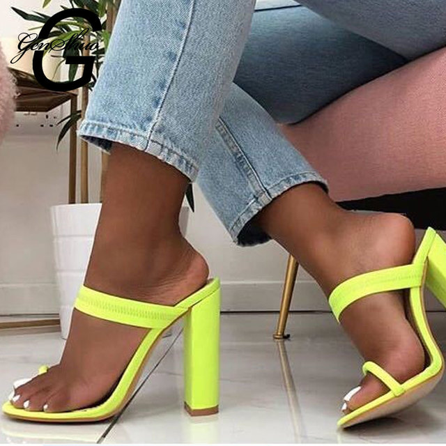 08b06d6a4 GENSHUO Stretch Fabric Women s Shoes Summer Flip Flops Fashion Summer Block  High Heels Sexy Open Toe