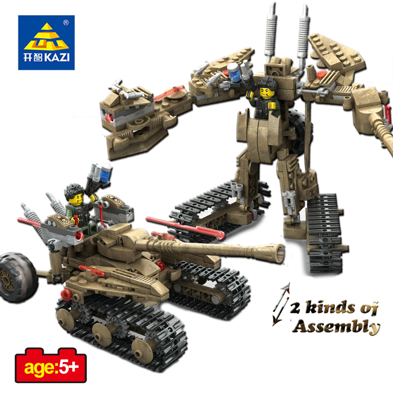 KAZI Toys Weapons Military Action Figures Building Blocks DIY Transformation Armored Car Robot  Educational Toys For Children 8 in 1 military ship building blocks toys for boys