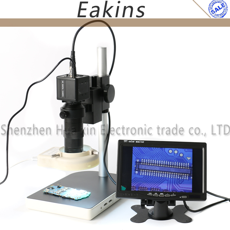 800TVL 1/3 CCD COMS BNC Color Digital Industry Video Microscope Camera IRIS+100X C-Mount Lens+Stand+56 Light+7 Inch LCD Monitor 2 0mp hd 2in1 industry digital microscope camera 7 lcd monitor stand holder c mount lens 40 led ring right