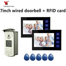 Yobang Security 7″ Video Intercom Door Phone System With 2 black Monitor RFID Card Reader Handsfree Doorbell Camera Night vision