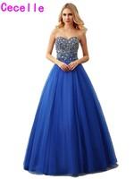 Настоящий Королевский Синий бальное платье Тюль платье для выпускного вечера 2017 Милая длиной до пола Длина сильно бисером лиф принцесса пл