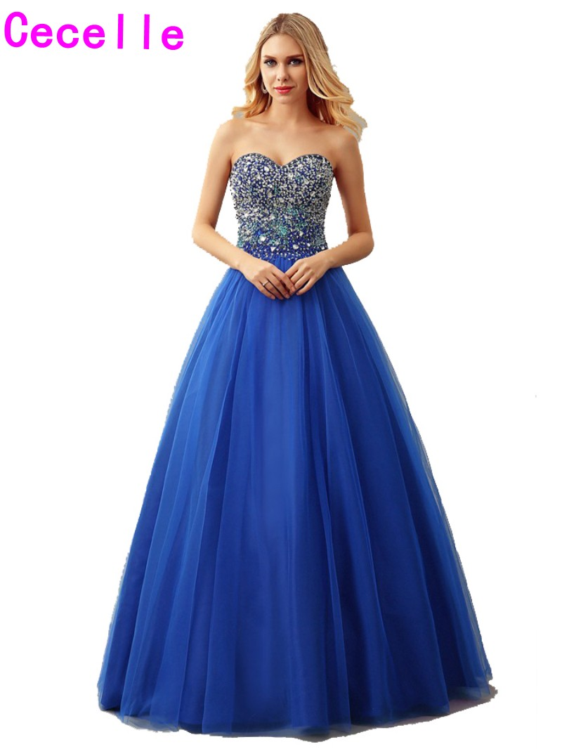 Real Royal Blue Ball Gown Tulle Prom Dress 2017 Sweetheart Floor ...