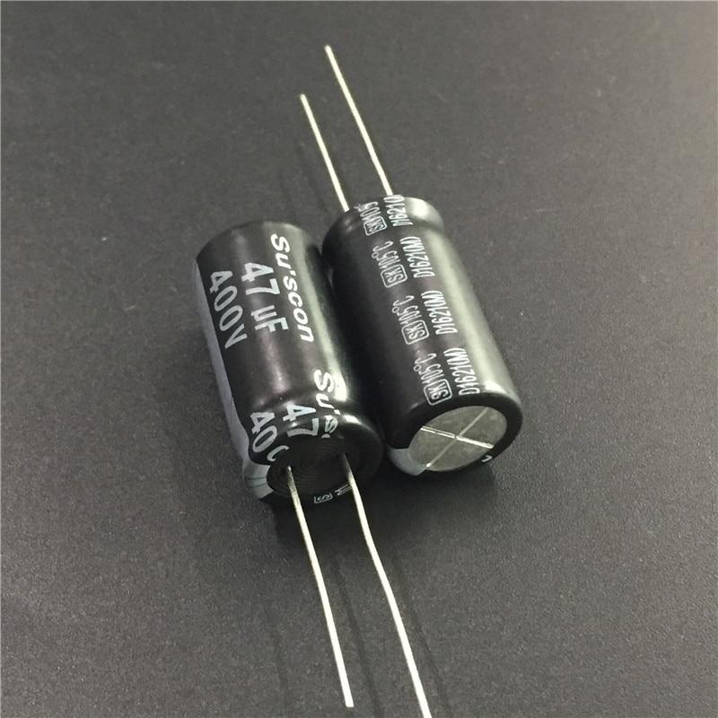 2pcs 47uF 400V Su'scon SK Series 12.5x26mm 400V47uF Aluminum Electrolytic Capacitor