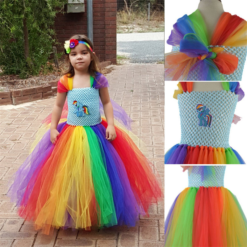 2018 Children Girls Rainbow Tutu Dress Kids Girl Little Pony Birthday Wedding Photo Tulle Tutu Dress Baby Girls Birthday Gift kids fashion comfortable bridesmaid clothes tulle tutu flower girl prom dress baby girls wedding birthday lace chiffon dresses