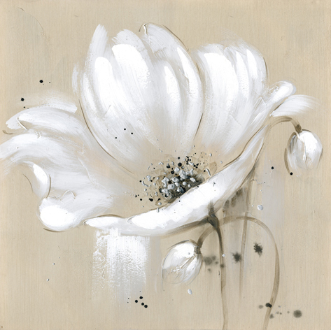 Beige Canvas White Flowers Knife Oil Painting Gray 2 Piece Art Bottle Stickers Old Newspapers Retro Home Decor1