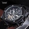 2016 JARAGAR Homens Relógio de Luxo Da Marca Black Rubber Esporte Turbilhão Mecânico Automático do Relógio De Pulso Presente Relógio Relogio Releges