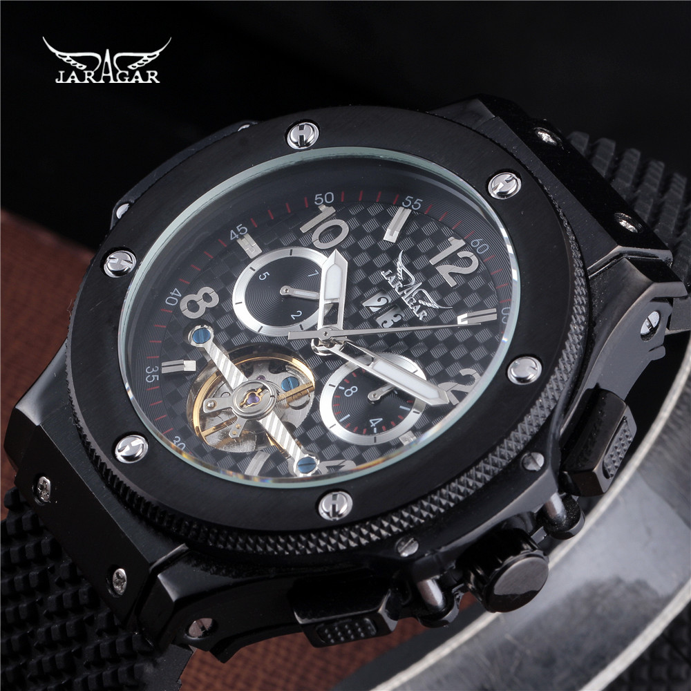 2016 JARAGAR Men Luxury Brand Watch Black Rubber Sport Tourbillion Automatic Mechanical Wristwatch Gift Clock Relogio Releges jaragar men luxury watch stainless steel tourbillion automatic mechanical wristwatch relogio releges