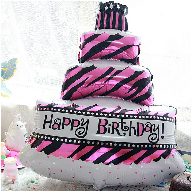 2015 NEW Large Size Birthday Cake shaped Foil Balloons Happy