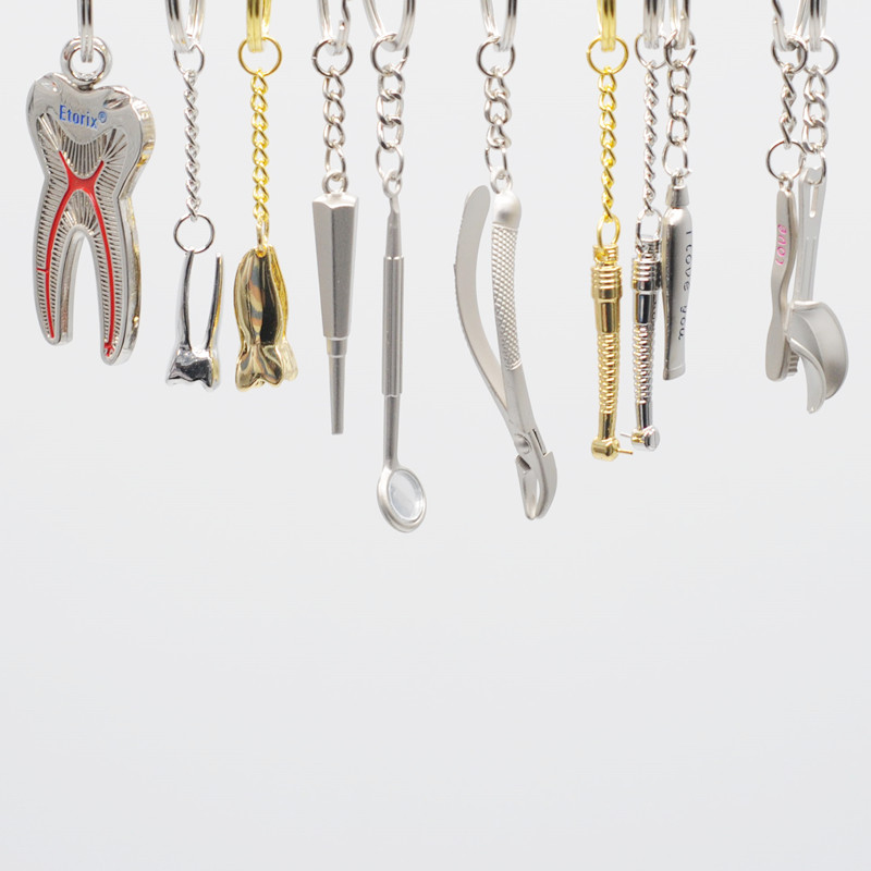 Gift Dentistry Clinic Stainless Steel AssortedKeychain Key Chain 2Pcs For Dental