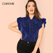 COLROVIE Plus Size Blue Tie Neck Ruffle Armhole Glitter Elegant Blouse Top Women 2019 Summer Korean