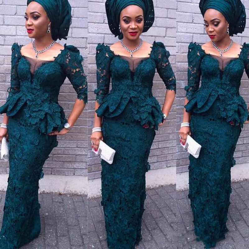 Aliexpress African Lace Evening Dresses 2017 Mermaid Full Sleeves Peplum Formal Aso Ebi Style Dark Green Nigeria Women Party Dress From
