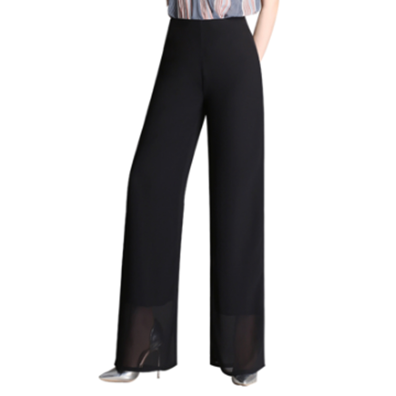 2019 Summer European Style Women Chiffon   Wide     Leg     Pants   High Waist Straight Ladies Trouser Zipper Fly Black Capris Plus Size 4XL
