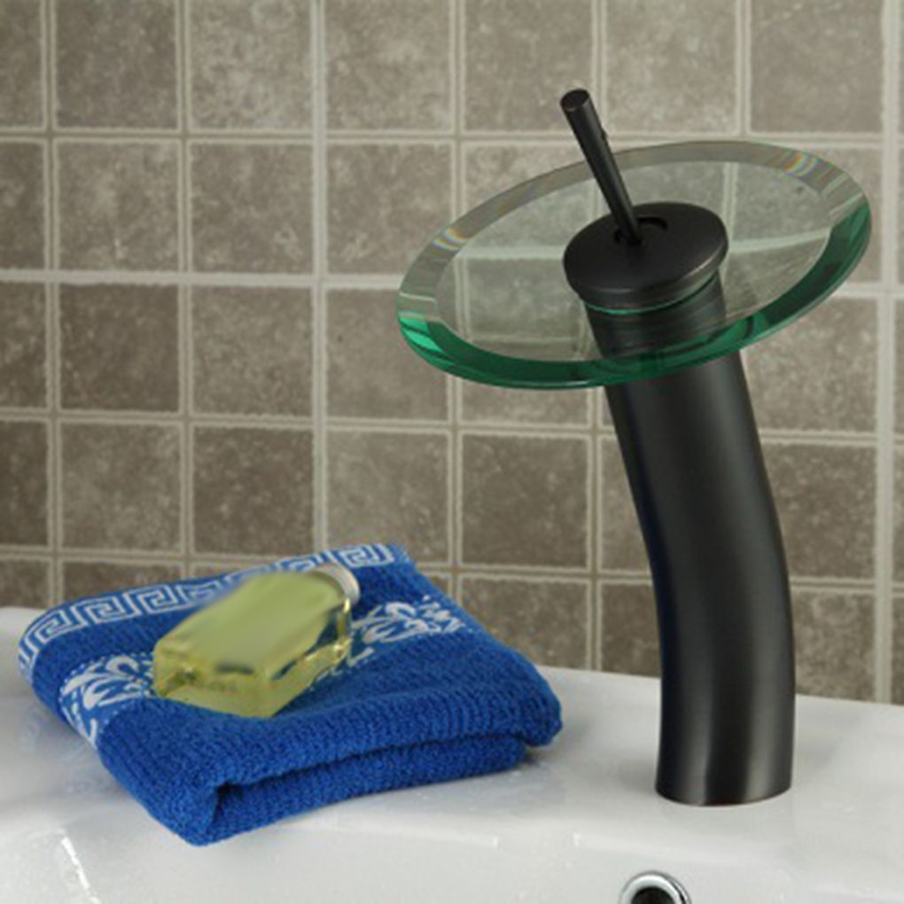Glass Waterfall Bathroom Vessel Sink Faucet Seat Diameter 55mm Kitchen Bar Water Tap Mixer