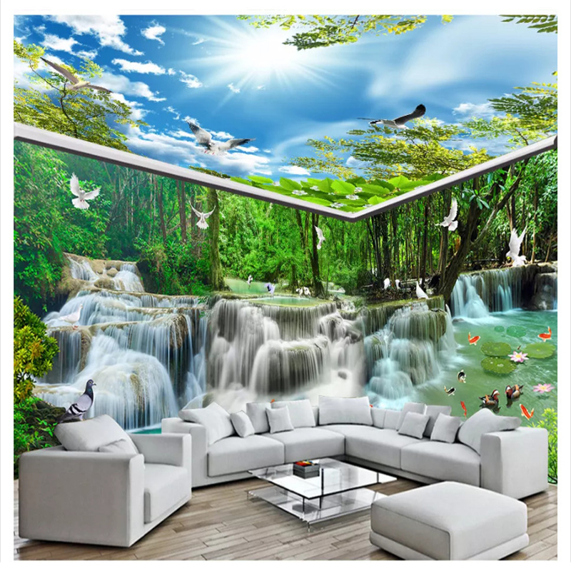 Beibehang Moda 3d papel de parede cachoeira água floresta casa de pomba branca pintura tema de fundo sala parede papers home decor