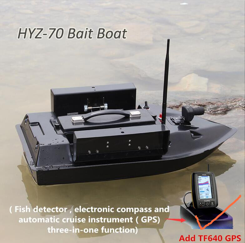 Ajouter GPS/Poissons Détecter Professionnel En Fiber De Verre Intelligent Sans Fil Télécommande Poissons Appât Bateau HYZ-70 500 M 4 KG Nourrir crochet Trempage bateau
