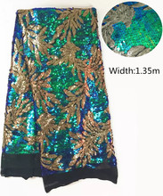 L-PL101 New French Nigerian sequins net lace,African tulle mesh Sequence lace fabric high quality for wedding dress 5yards/lot(China)