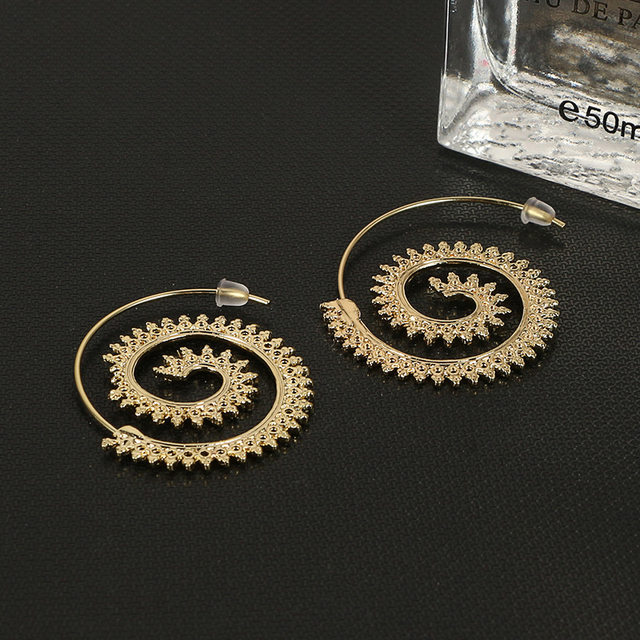 Crazy Feng Jewelry Gold Silver Color Spiral Stud Earrings Round Simple Style Swirl Fake Ear Plugs For Women