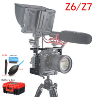 Aluminum Camera Cage Video Film Movie Making Rig Stabilizer for Nikon Z7 Z6 w/ Cold Shoe Mount for Magic Arm Microphone Monitor