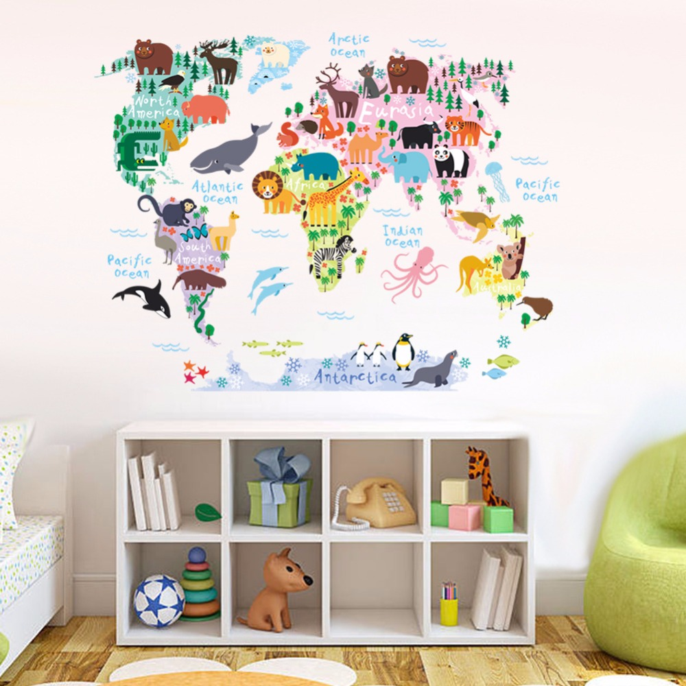 Cartoon animals map wall stickers for kids room bedroom - Childrens bedroom wall stickers removable ...
