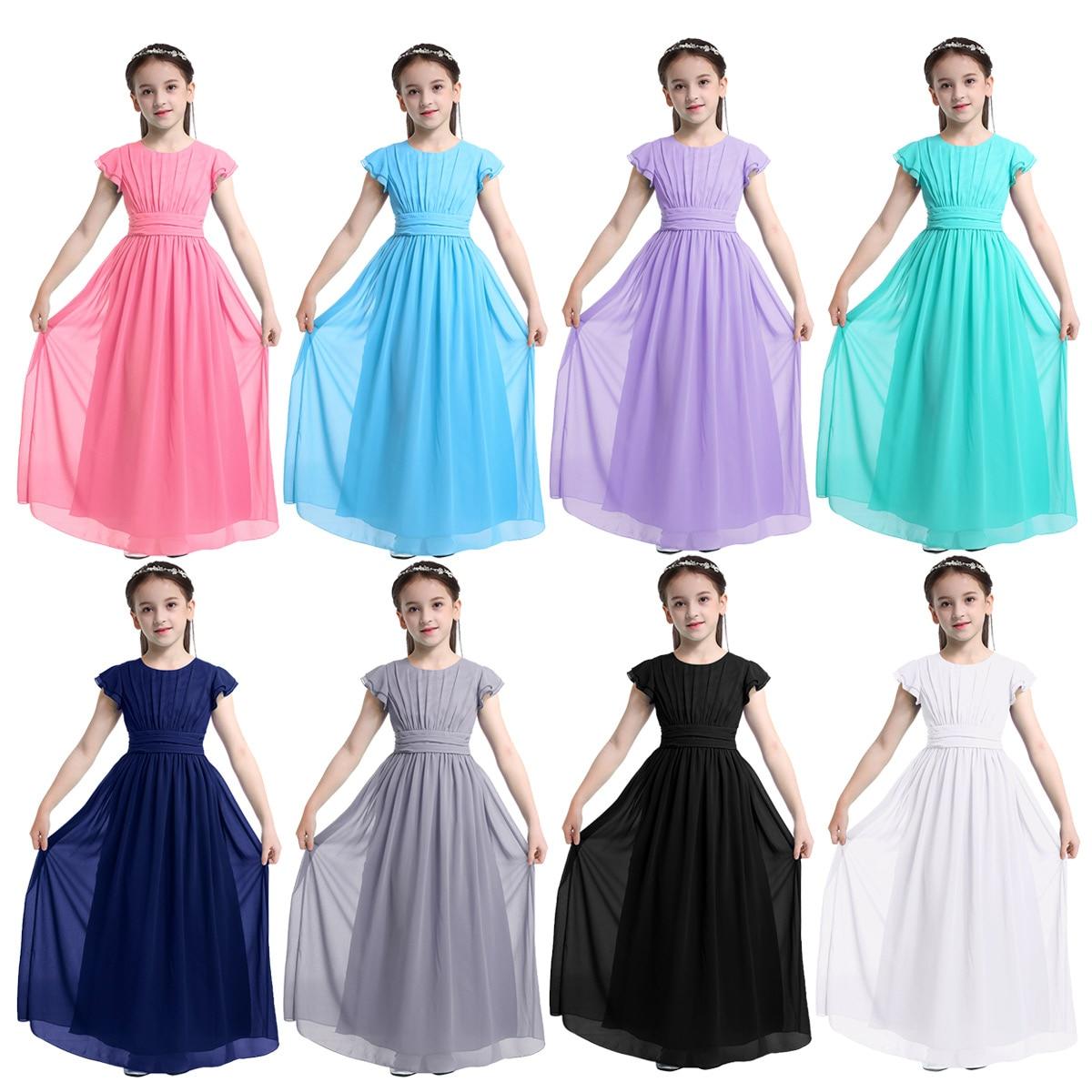 Image 2 - Girls Chiffon Flutter Sleeves Flower Girl Dress Pleated High waisted Princess Pageant Birthday Wedding Party Long Dress SZ 4 14Flower Girl Dresses   -