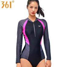 361 Bathing Suit Women Surf Swimwear Female One Piece Bather 2019 Long Sleeve Sports Swimsuit Wire Free Rash Guard Swimming Suit maillot one piece swimsuit knee length sport suit beach patchwork swimwear women one piece bathing suit surf rush guard xxxl