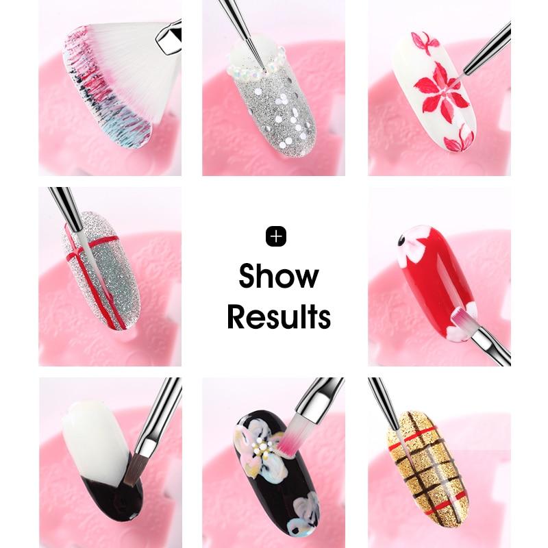 ROHWXY 15/12/8pcs Nail Art UV Gel Brush Set Pen UV Gel Nail Art Builder Flat Crystal Painting Drawing Carving Pen Manicure Tool 3