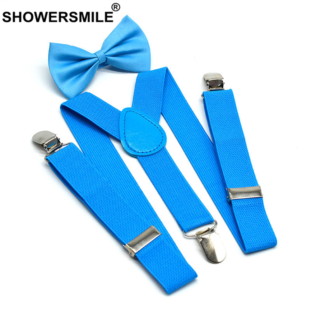 SHOWERSMILE Boys Suspenders Kids Blue Children Suspender Pant Yellow Pink Black Navy Red Wedding Baby Girls Braces Bow Tie Set
