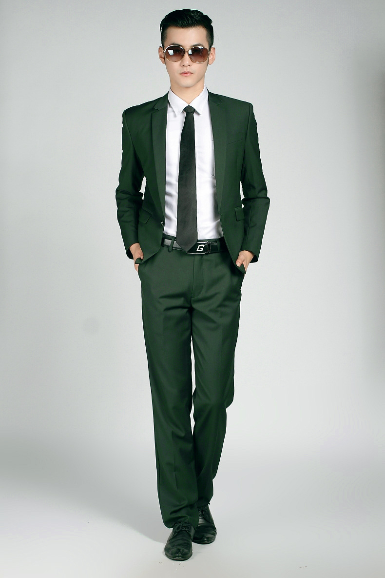 Jacket Pants) Fashion Brand Mens Suits Wedding Groom Twill Single ...