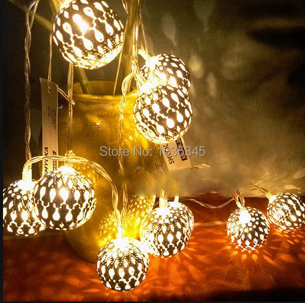 3.3M 20led Battery Operation Silver 4cm Metal Ball LED String Light Patio  Fairy String Lights