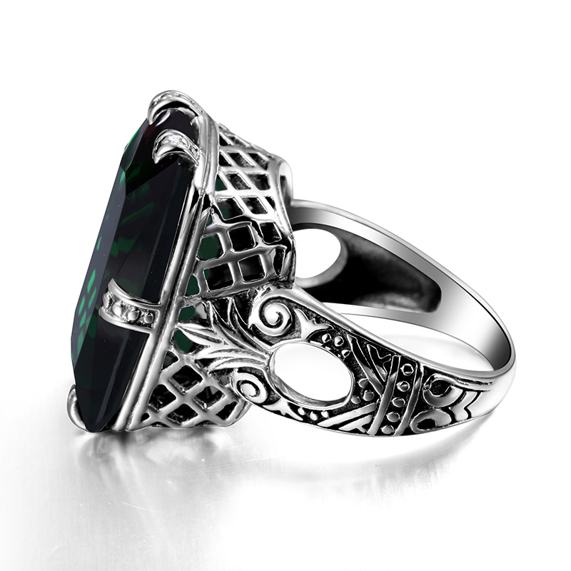 Image 3 - Szjinao Emerald Ring 4.8ct Green Vintage 925 Sterling Silver 