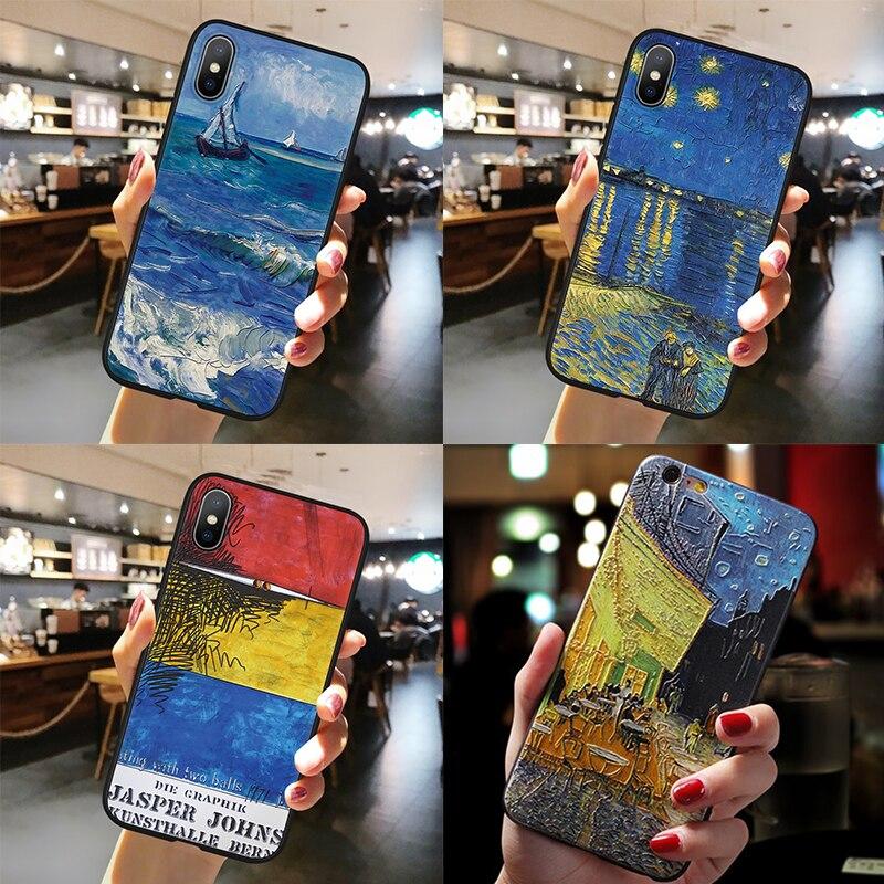 Van Gogh Nuit Étoilée Peinture À L'huile étui pour samsung Galaxy A51 A50 A30 A40 A70 A71 S6 S7 S8 S9 S10 S11 Plus S11e 3D Gaufrage Capas