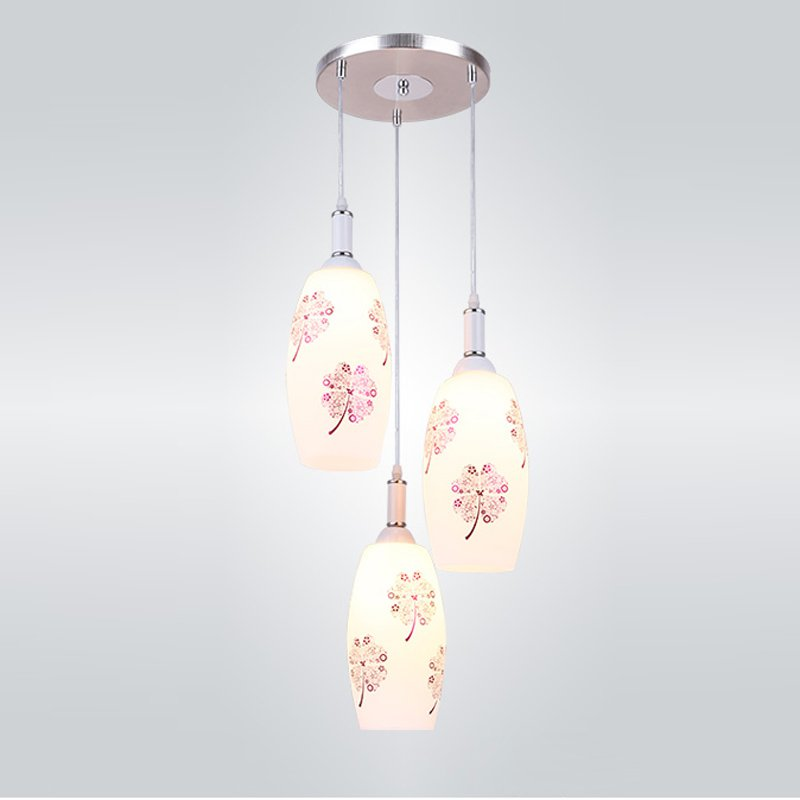 Modern Dining Room Glass Pendant Lights Four Leaf Clover Printing Restaurant Hanging Lighting Fixtures Bar Counter Hanging Lamps