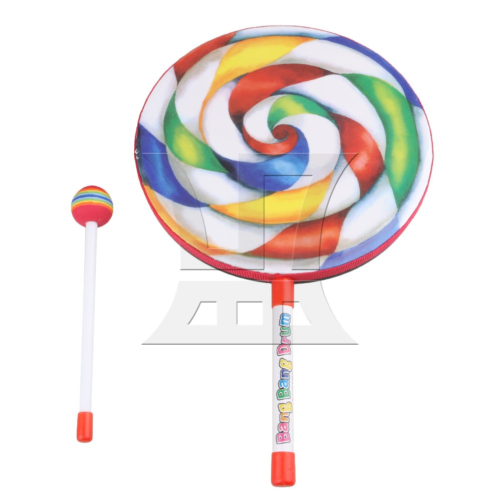 """Yibuy 9.8"""" Lollipop Shape Hand Drum Percussion Musical Instruments Education Toys for Kid and Baby with Candy Drumstick"""