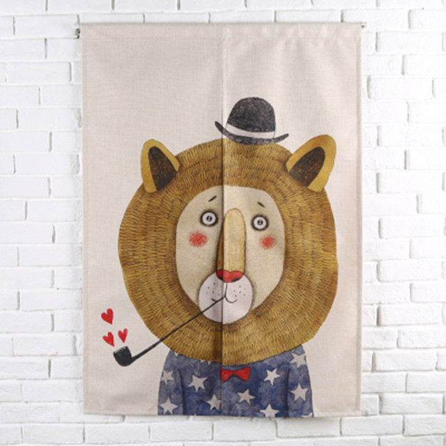 Linen Tapestry Animal Lion Door Curtain Childrenu0027s Study Bedroom Home Decor Kitchen  Curtains Cartoon Bear Customizable