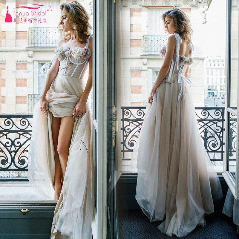 Unique Romantic Wedding Dresses 2019 Fashion Handmade Flowers Nude lining Tulle Bridal Gowns Fairy Noivas Elegant