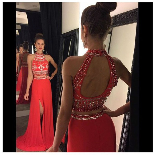 Sexy High Neck 2 Piece Prom Dresses Beading Work Open Back Long Prom Dress  Slit Leg Red Formal Evening Dress Custom Made Size b07c16562441