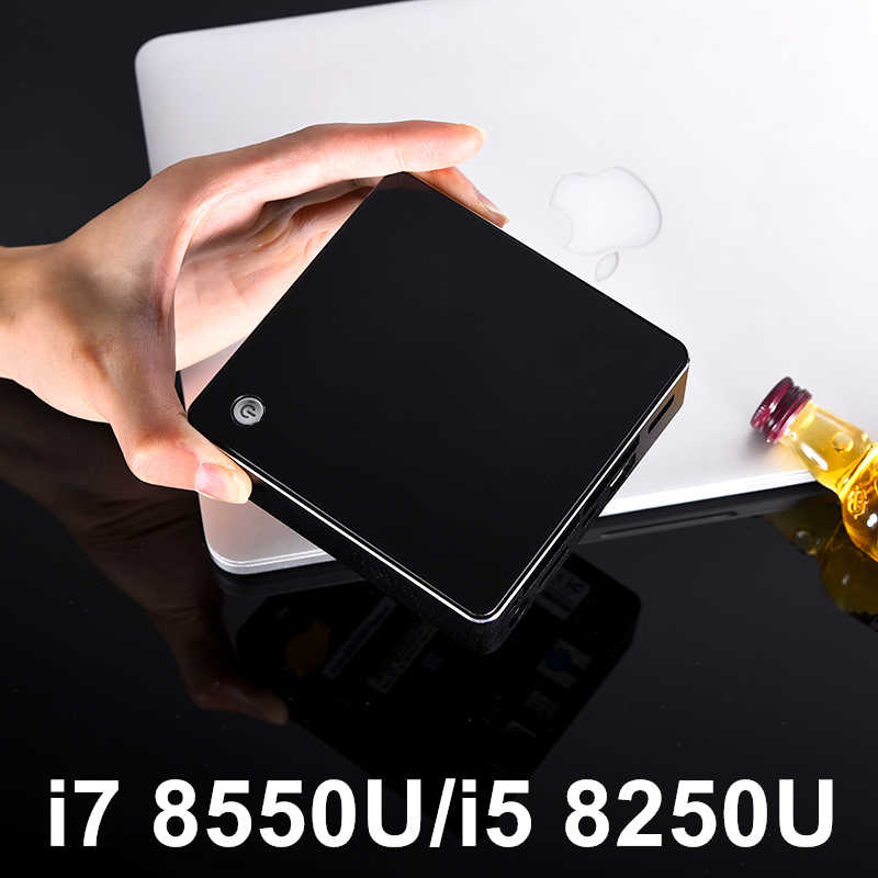 أحدث Kaby Lake R 8th Gen Quad Core Mini PC Win 10 إنتل كور i5 8250U i7 8550U UHD الرسومات 620 5G التيار المتناوب واي فاي HDMI كمبيوتر مصغر