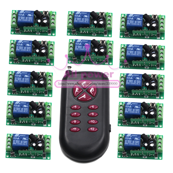 DC 12V 1CH Channel Wireless RF Remote Switch Transmitter and 12pcs Receivers Remote Control Switch 315/433Mhz New