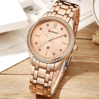 CURREN 9010 Japan Movement Luxury Crystal Watch Women Waterproof Ladies Wrist Watches Bracelet With Box