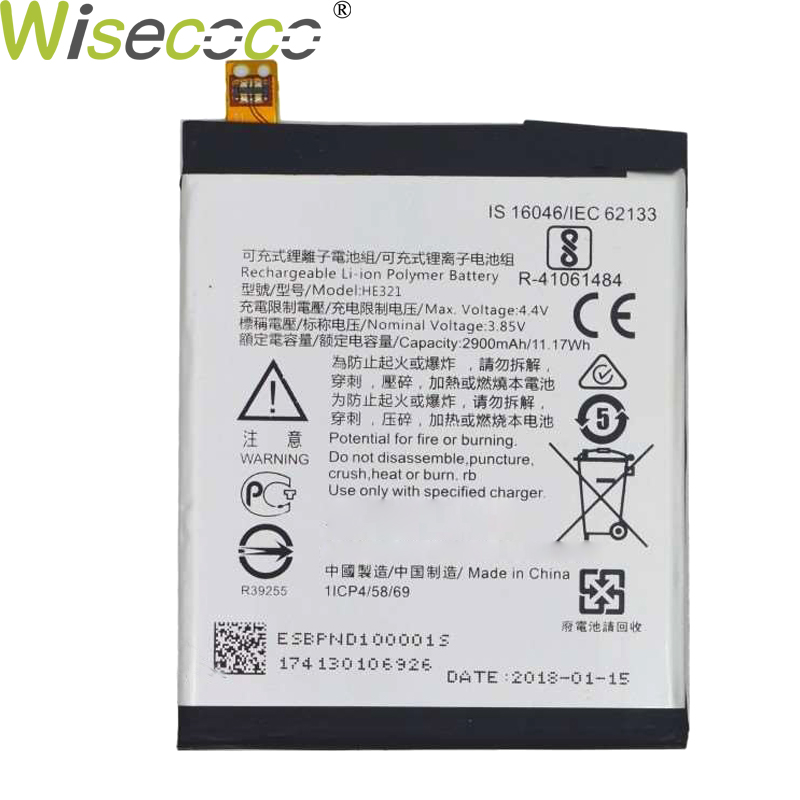 WISECOCO New Original 2900mAh Battery HE336 HE321 For <font><b>Nokia</b></font> <font><b>5</b></font> Dual SIM (<font><b>TA</b></font>-<font><b>1053</b></font> <font><b>DS</b></font>) Phone Replacement In Stock +Tracking Number image