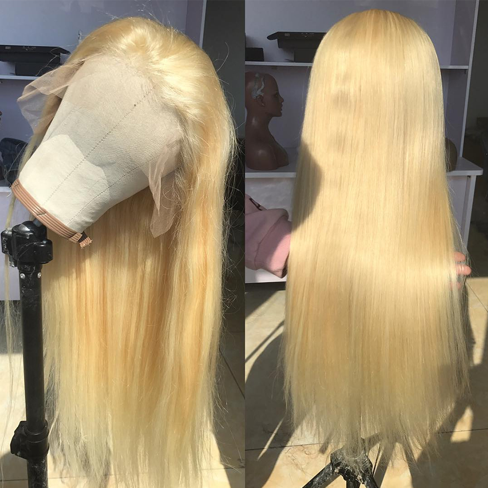 Rosabeauty 613 Blonde Straight Long Brazilian Transparent Lace Front Human Hair Wigs Remy Frontal Wigs For Black Women image