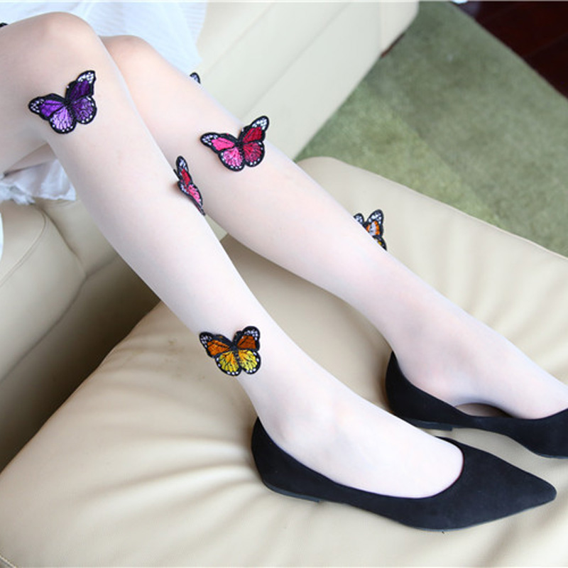 Summer Women Tights Cute White Black Lace 3D Butterfly Printed Pantyhose Female hosiery Stretchy Meias Coxa Alta Sexy Stockings