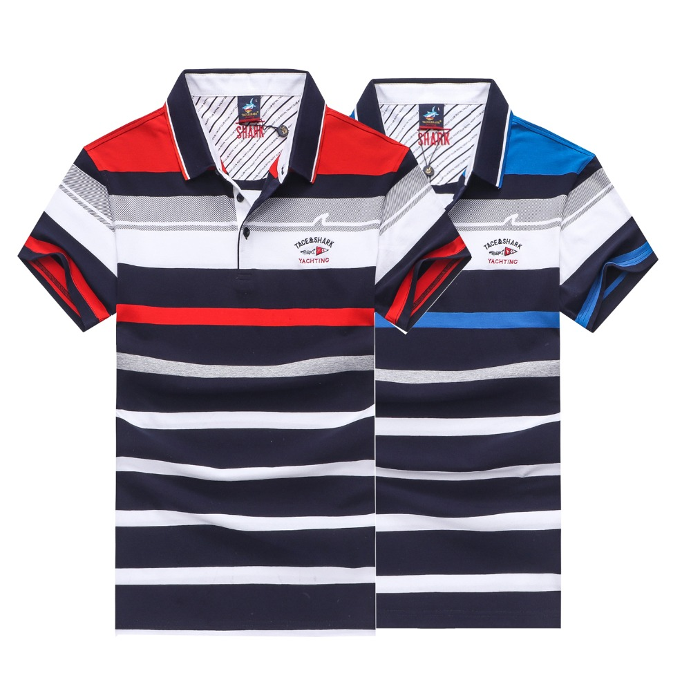 Fashion Men's Polo Shirt  2019 Summer Clothing Smart Casual Business Polo Hombre Tace & Shark 3D Embroidery Striped Polos Shirts