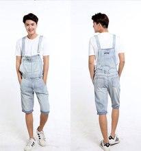 Adult One Piece Denim Jumpsuit Men Overalls Jumpsuit Bib Pants Suspender Jeans Knee Length Jeans Shorts Big Size S-3XL 4XL 5XL